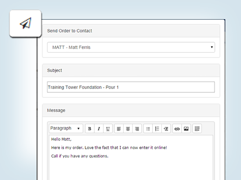 Export order file and attach to an email in a single step.