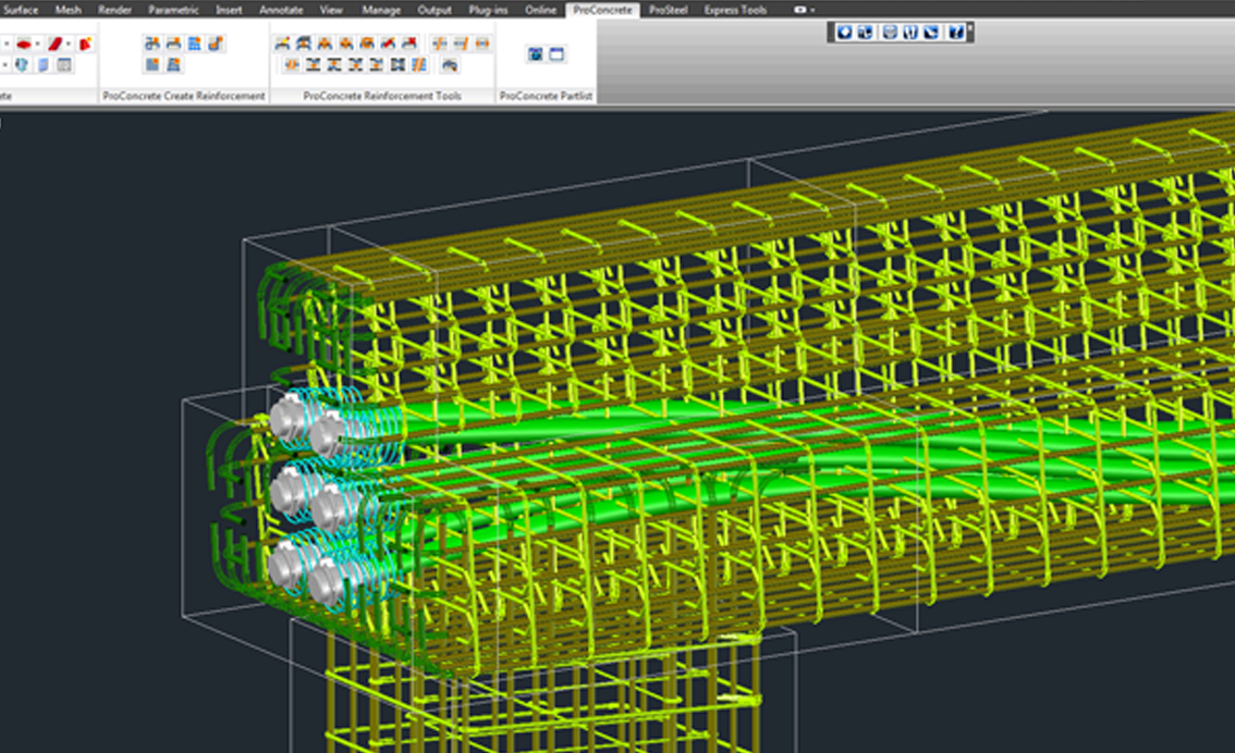 Special tools allow you to easily model concrete and rebar in 3D.