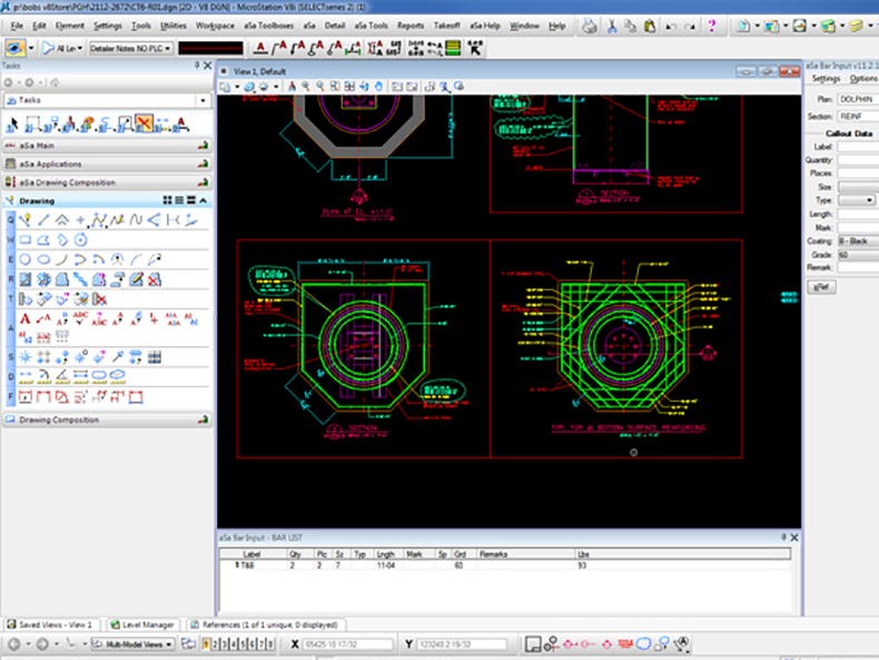 Microstation CAD drawing tools complement aSa detailing functionality.