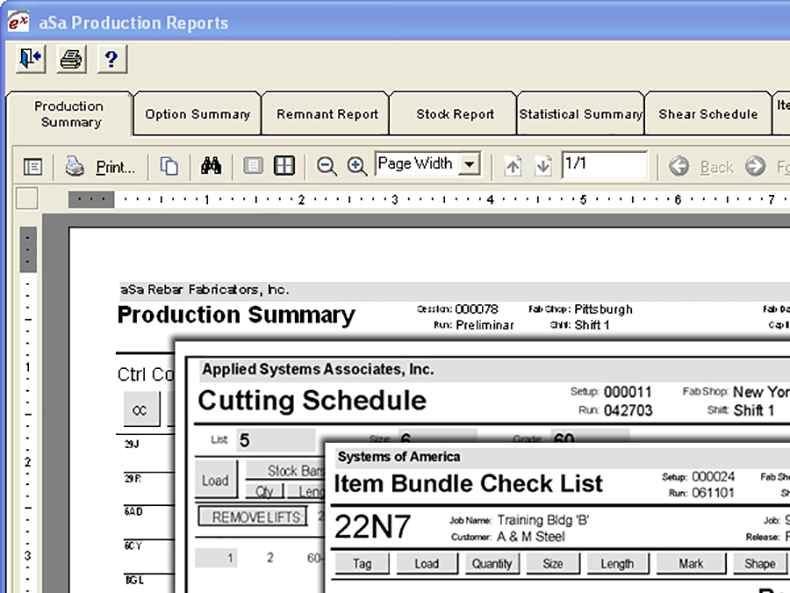 Reports and tags provide clear instructions for every step of the fabrication process.