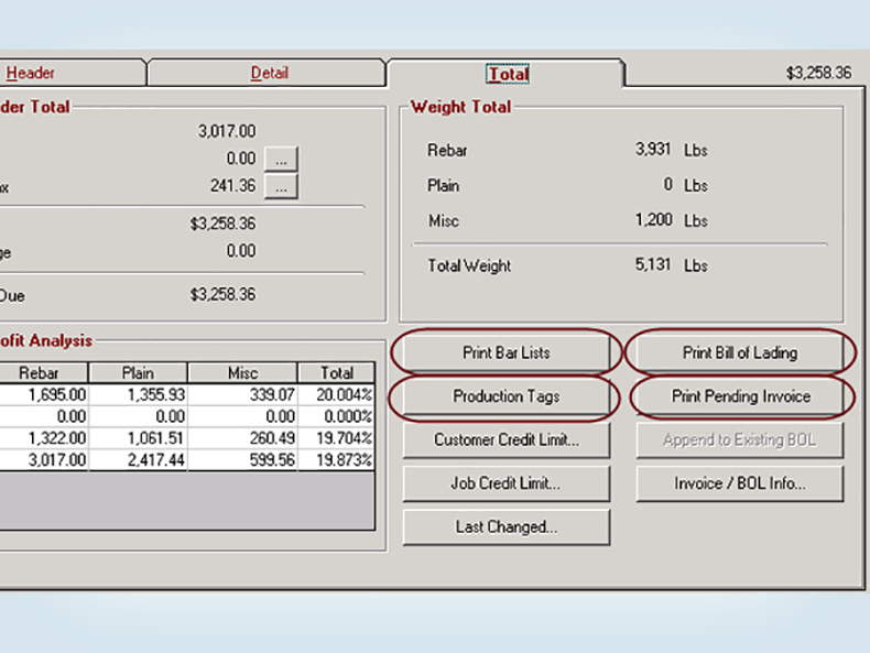 Create a bar list, production tags, bill of lading, and printed invoice directly from a sales order.